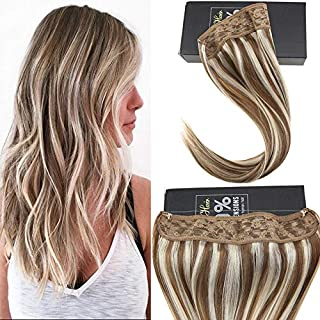 Sunny 16inch Piano Color Medium Brown with Blonde Hair Halo Extensions Real Hair 80g No Glue One Piece Wire Human Hair Extensions