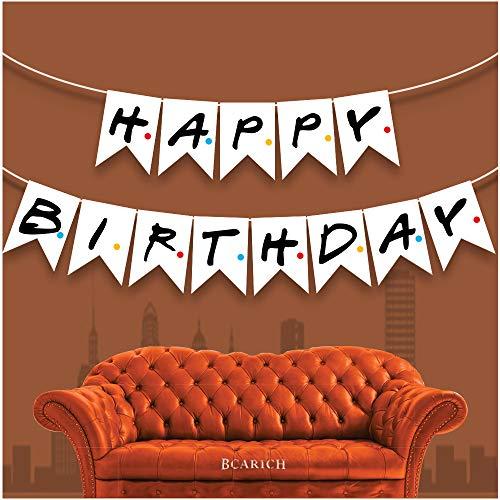 Friends TV-Show Happy Birthday Banner Schild, Freunde, Party-Flagge, Banner, Dekoration, Hintergrund, Party-Zubehör für Freunde, Fan, Weißes Geburtstagsbanner