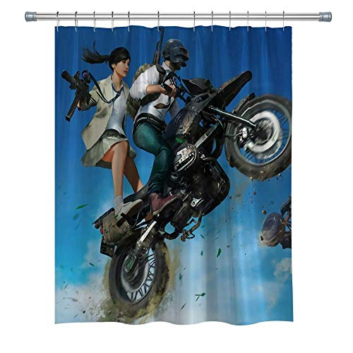 Playerunknow's Battlegrounds Warriors Shower Curtains, Motorcycle Waterproof Polyester Fabric Shower Curtain for Bathroom, 3D Print Decor Shower Curtain Set with Hooks, (5218H)