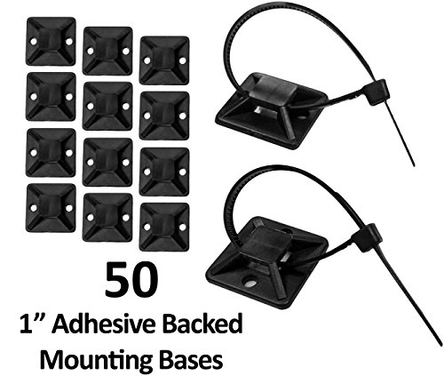 """1"""" Adhesive Backed Mounting Bases - 50 Pieces - Color: Black"""