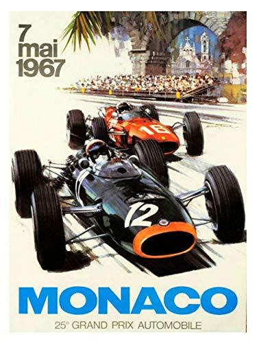 Formula 1 Monaco Metal Tin Sign Decor 8x12 Inch