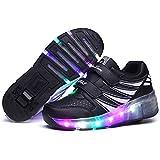 Skybird-UK LED Leuchtend Schuhe mit Rollen Ultraleicht Outdoor Sportschuhe Blinkschuhe Skateboardschuhe 7 Farbe Farbwechsel Rädern Gymnastik Sneaker für Junge Mädchen