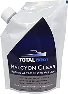 TotalBoat Halcyon Marine Varnish | Water-Based Polyurethane Wood Finish | Clear Gloss UV Protection for Interior and Outdoor Use