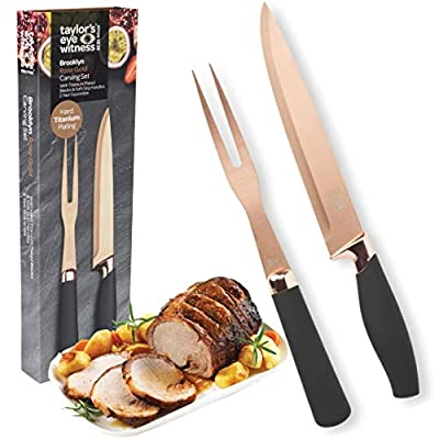 Taylor's Eye Witness Carving Knife & Meat Fork Set - 20cm/8 Inch Classic Titainium Plated Blade. Strong, Stylish Two Prong Fork for Professional Chefs & Home Cooks. Rose Gold Bolster. Soft Grip Handle