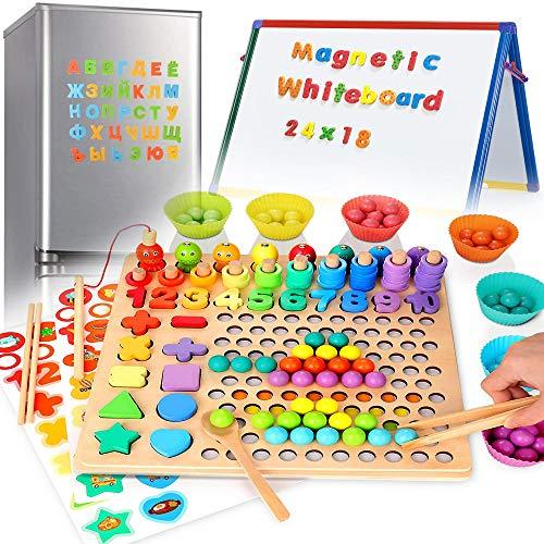 ARToy 7 en 1 magnético de madera para aprender a contar para niños con número magnético para niños de 3 años – incluye alfabeto, números y formas