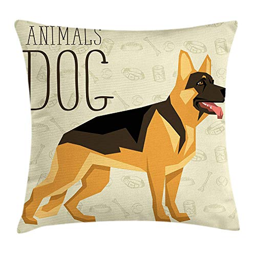 SDLZIJFGHBC German Shepherd Throw Pillow Cushion Cover, Geometric Animal Figure with Tongue out on a Backdrop with Dog Elements, Decorative Square Accent Pillow Case, Multicolor, 20 X 20 Inches