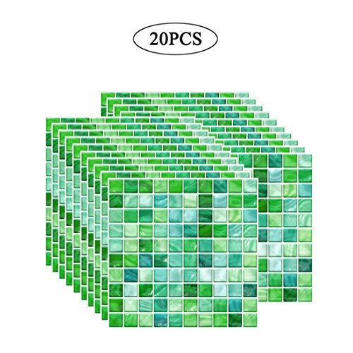Zhhlaixing Fliesenaufkleber PVC, Mosaik Fliesen Klebefolie Selbstklebend Hitzebeständig Wasserdicht Fliesensticker für Küche Bad Fliesendekor Wandaufkleber (10 x 10 cm / 3,93 x 3,93 Zoll) 20PCS