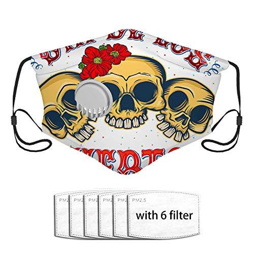 Dia De Los Muertos Zitat Poster DREI glückliche Schädel in Tradit Staubdichte Sonnenschutz-Turban-Maske Kopfschmuck Mundmasken
