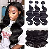 Amella Hair Brazilian Body Wave Frontal(16' 18' 20'+14'13x4 Frontal) Bundles with Frontal Ear to Ear Lace Frontal Closure with Bundles 8A Brazilian Body Wave Frontal with Baby Hair Natural Black Color