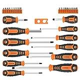 BRIMIX 33 piezas juego de destornilladores magnéticos con caja maletín organizadora y magnetizador. Incluye punta cabezal Phillips, Plano, Pozidriv y Torx