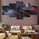 37Tdfc Cuadros Modernos Impresión de Imagen Artística Digitalizada | Lienzo Decorativo para Tu Salón o Dormitorio|Chica de Pelo Blanco Daenerys 5 Piezas 150 x 80 cm XXL