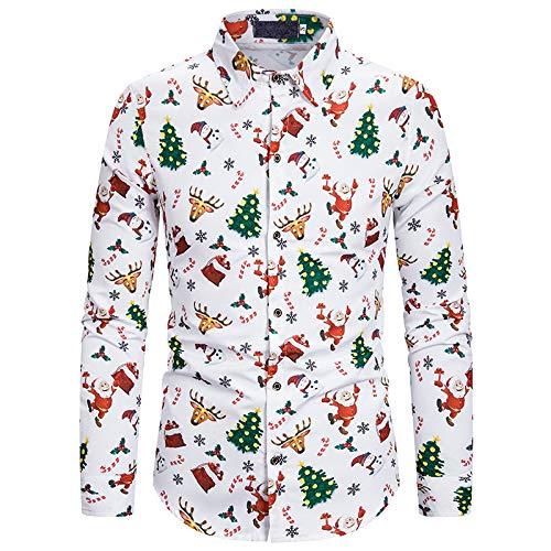 Hombre Camisa de Manga Larga Otoo/Invierno Americana Casual Navidad Estampado Solapa Camisa de Manga Larga XXL