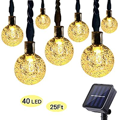 ECOWHO Solar String Lights Outdoor with 8 Modes and Memory Function, 25ft 40 LED Waterproof Solar Patio Globe String Lights for Garden Patio Wedding Party Holiday (Warm White)