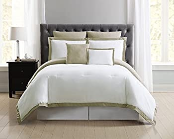 Truly Soft Everyday Hotel Border Comforter Sets 7 Piece Full/Queen White/Khaki