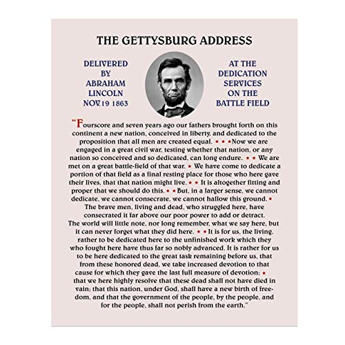 Abraham Lincoln-'The Gettysburg Address'-United States History Wall Art-11 x 14' American Civil War Replica Print-Ready to Frame. Historical Home-Office Decor. Patriotic Classroom-Library Sign!