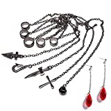 Kurapika Chains + Earrings Studs H x H Cosplay Bracelet Rings for Five Fingers with Pendants
