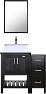 "eclife 36"" Bathroom Vanity Sink Combo Black W/Side Cabinet Vanity White Ceramic Vessel Sink and Chrome Bathroom Solid Brass Faucet and Pop Up Drain, W/Mirror(T03B06B11)"