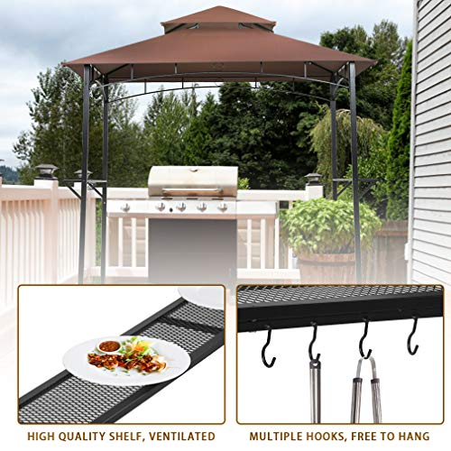 Grill Gazebo 8'x 5' Barbecue Canopy BBQ Gazebo Canopy Tent w/Air Vent Double Tiered Outdoor