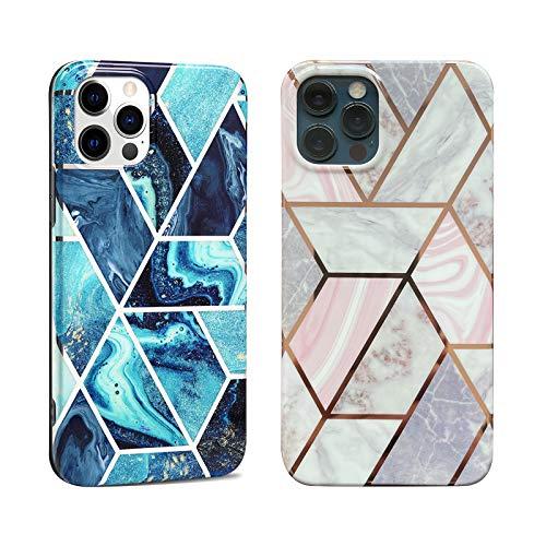 DREKEMU 2 Unidades Mármol Funda para iPhone 12 Pro Max, Carcasa de Silicona con Purpurina, Fina y Suave TPU Funda Flexible Resistente a los Arañazos, Rosa gris, Azul