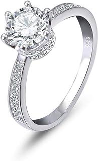 CRYSLOVE Anello di Fidanzamento da Donna Rotondo Brillante Diamante simulato moissanite Solitario Anello di Nozze Gioielli