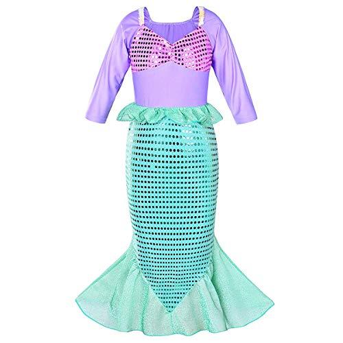 FYMNSI Disfraz de Sirenita Ariel para nia, disfraz de princesa, Halloween, fiesta de cosplay, manga 3/4, lentejuelas brillantes, cola de pez, largo para nios, beb, Navidad, cumpleaos, carnaval