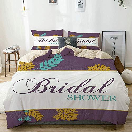 Set copripiumino beige, fiori astratti stampa festa della sposa, set di biancheria da letto decorativo 3 pezzi con 2 fodere per cuscini facile da pulire anti-allergico morbido liscio
