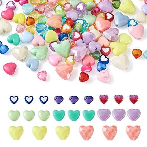 Beadthoven - 800 cuentas acrílicas con forma de corazón, 8 estilos, coloridas...