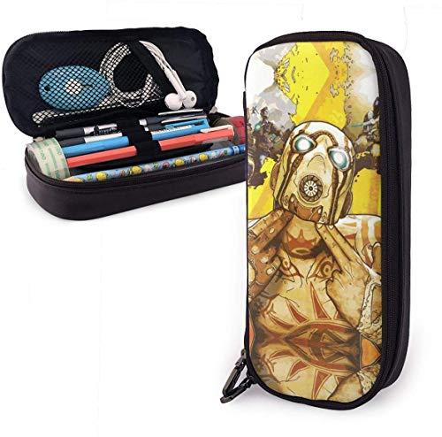 Border-Lands Bleistiftetui - Hochleistungs-Bleistiftbeutel aus PU-Leder mit doppeltem Reißverschluss Briefpapier Organizer Multifunktions-Kosmetik-Make-up-Tasche