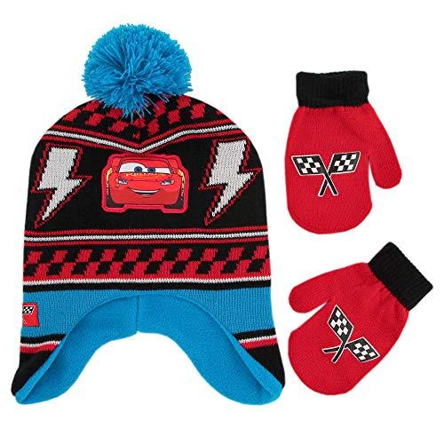 Disney Boys Winter Hat Set, Cars Lightning McQueen Toddler Beanie Kids, Blue Design, Mittens - Age 2-4