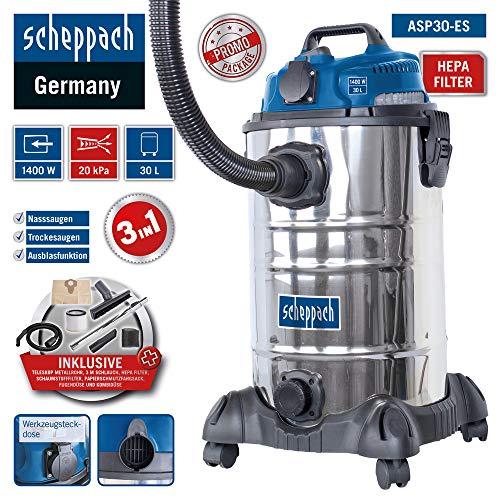 Scheppach Nass Trockensauger ASP30-ES (1400 W, 200 mbar, 30 L, HEPA-Filter, 7,5m Arbeitsradius, Geräte-Steckdose, Kombidüse für Teppich/Glattboden, Fugendüse, umfangreiches Zubehörset)