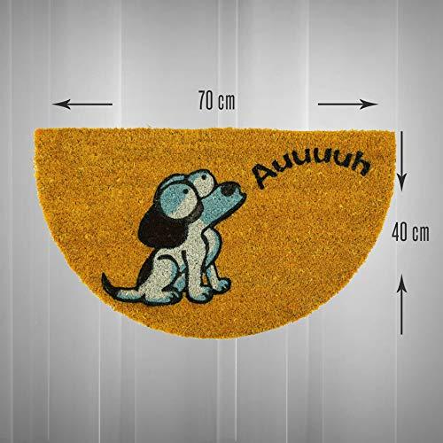 LucaHome - Felpudo de Coco Natural 70x40 con Base Antideslizante, Felpudo de Coco Divertido Perro auuu Felpudo Absorbente Entrada casa, Ideal para Puerta Exterior o Pasillo