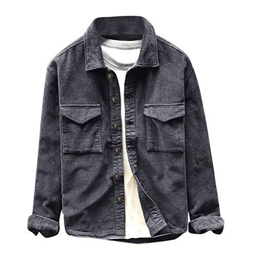 serliy😛Herrenhemd, langärmlig, Normale Passform, aus Cord Herren-Hemd Männer 2019 Frühling und Herbst Modemarke Vintage Slim Fit Cordhemd männlich lässig blau rot Hemdtuch