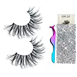 3D Mink Eyelashes Real Siberian Handmade Invisible Band False Lashes Pair with 1 Tweezers Cruelty Free Natural Soft Curly Fake Eyelash Strips in Deluxe Box for Womens