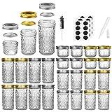 Mason Jars Canning Jars, 24 Pack Jelly Jars With Regular Lids, Ideal for Jam, Honey, Wedding Favors,...