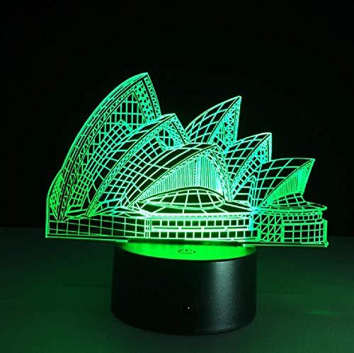 Sydney Opera House Modell 7 Farbwechsel Led 3D Nachtlicht Luminarias Touch 3D Tischlampe Bluetooth-Lautsprecher Für Wohnkultur