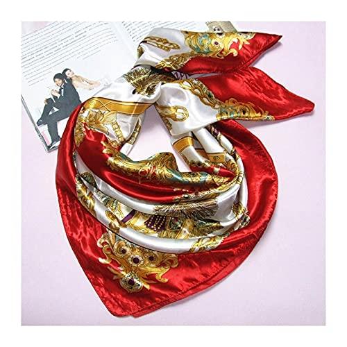 Bufanda mujer estampado suave bufandas de moda bandejas livianas envolturas chal para damas cabello cabeza cuello bufanda satinado headwear (90 * 90) 210822 ( Color : Red , Size : OneSize(90x90CM) )