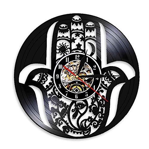 Reloj De Pared De Vinilo,Hamsa Fátima Mano 3D Vintage Reloj De Pared Creativo Vinil Artesanos Colgando Relojes Solo Regalo para Ella-con Luz Led