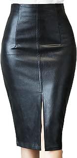 XQS Falda de piel sintética para mujer, color puro, cómoda