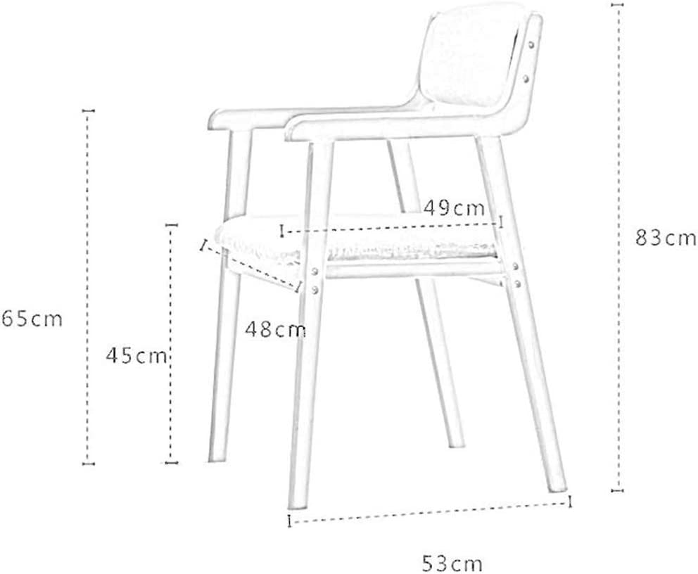 OFAY Chaise De Salle À Manger en Bois Massif Moderne, Chaise en Tissu De Lin avec Accoudoirs Et Chaise D'Ordinateur avec Dossier, Assise 45 Cm (18 Pouces),H L