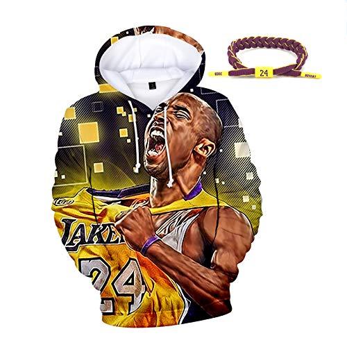 La mayoría de los Lakers Populares 24 Bryant Baloncesto jerséis con Capucha, Primavera otoño Invierno de los Hombres Sudaderas, Hip Hop, Pulsera con Bryant Nombre Yellow-XS