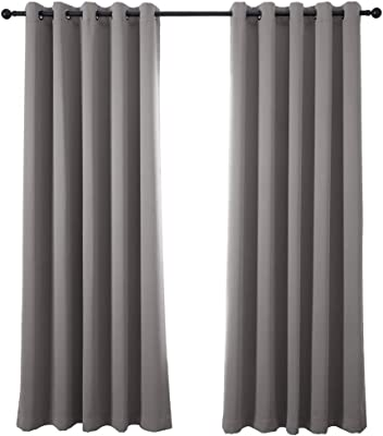 Pony Dance Blackout Curtain For Bedroom 52 X 63 Inch Grey Thermal Insulated Blackout Eyelet Blackout Curtain For Kids Room Nursery Door 1 Panel Amazon Co Uk Kitchen Home