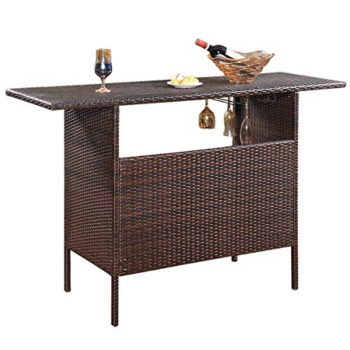 Giantex Outdoor Patio Rattan Wicker Bar Counter Table with 2 Steel Shelves, 2 Sets of Rails Garden Patio Furniture, 55.1
