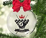 8Jo6Poe Personalized Pool Balls and Crossed Cues Floating Christmas Ornament. Cue. Ball