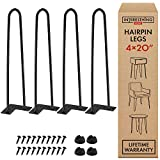 20 Inch Heavy Duty Metal Coffee Table Legs with Screws and Hairpin Leg Protector Included - 4 Piece Set - Pre-Drilled Holes for Easy Installation - Add Mid Century Modern Flair to Your Home (20')