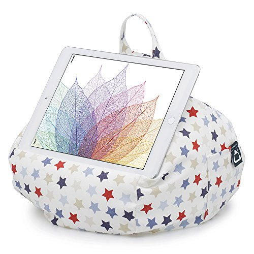 iBeani iPad & Tablet Stand/Bean Bag Cushion Holder for All Devices/Any Angle on Any Surface - Blue & Red Stars