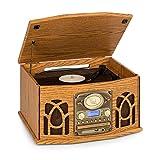 AUNA NR-620 DAB Stereoanlage, Plattenspieler mit 33 und 45 RPM, CD-Player, Kassettenrekorder, Radio, Bluetooth, USB-Port, Easy Recorder, spielt CD, CD-R/RW & MP3CD ab, Holzdesign, braun