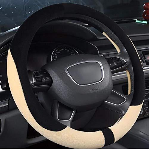 WH Car Steering Wheel Cover Diameter 36-40cm Winter Non-Slip Soft Warm Plush Handlebar Cover (Size : 36cm)