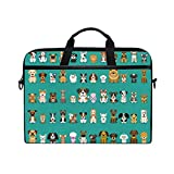 Ahomy Bolsa para portátil de 13.3 a 14 pulgadas, diferentes tipos de dibujos animados de perros, maletín portátil con correa ajustable para el hombro
