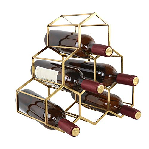 LYZL Weinregal, 6 Flasche Freistehende Weinregal, mit Hexagon Modernes Design, Stapelbare Weinregal, für Wohnzimmer, Esszimmer, Büro, 35 * 17 * 34CM