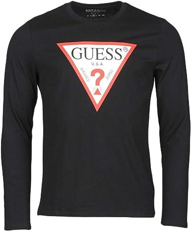 Guess Camisa de Hombre Negra de Manga Larga con Cuello ...